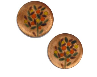 Vintage Enamel Trinket Dishes, Mid Century Mod Fruit Trees Copper Orange set of two