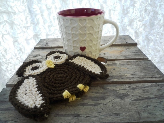 Crochet Owl Coasters - Crochet Owl - Crochet Coasters - Drink Coasters - Woodland Decor - Gift under 20 - Gift for Her - Set of 2