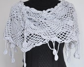 Pineapple- Gray - Crochet Cashmere blend yarn Scarf/shawl