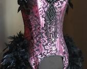 MISS BLOSSOM BURLESQUE  Victorian feather bustle dress Saloon purple & black corset
