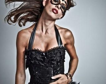 KALI Black Swan Dress Burlesque Costume Corset Steampunk outfit gothic dress