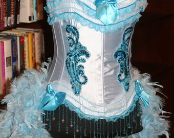 LARGE - Blue Iris Burlesque Ringmaster Corset Costume dress with feathers Halloween