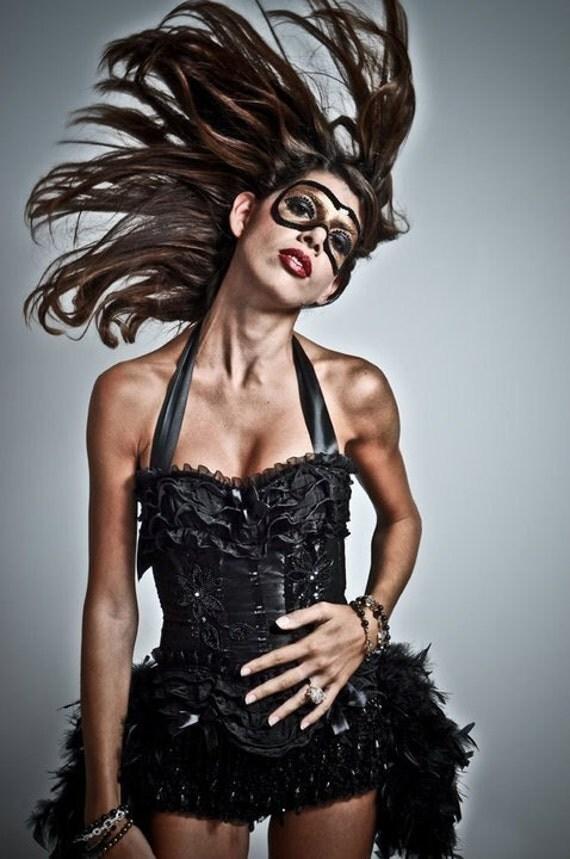 KALI Black Swan Burlesque Costume Corset Steampunk outfit gothic dress
