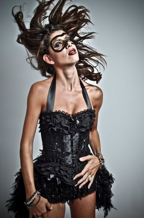 KALI Black Swan Burlesque Costume Corset Dress Steampunk gypsy feathers