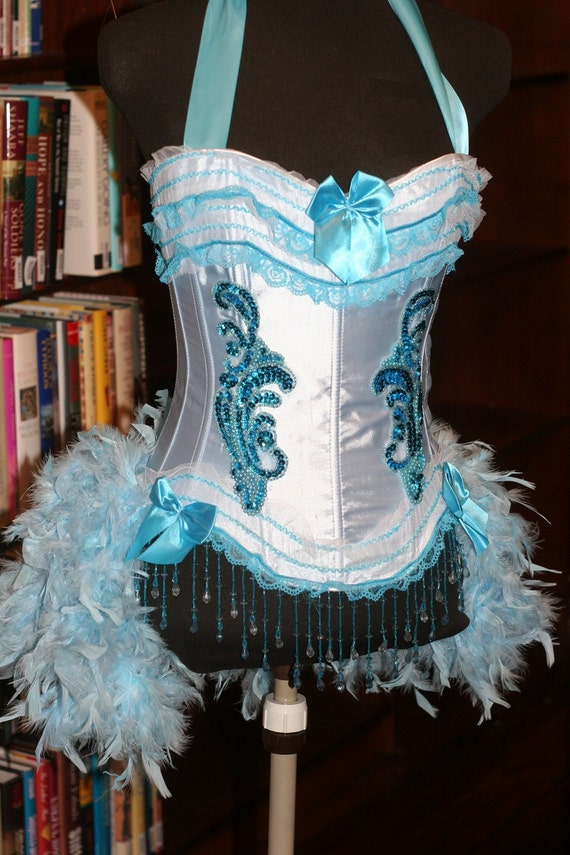 LARGE - Blue Iris Burlesque Ringmaster Corset Costume dress with feathers Halloween