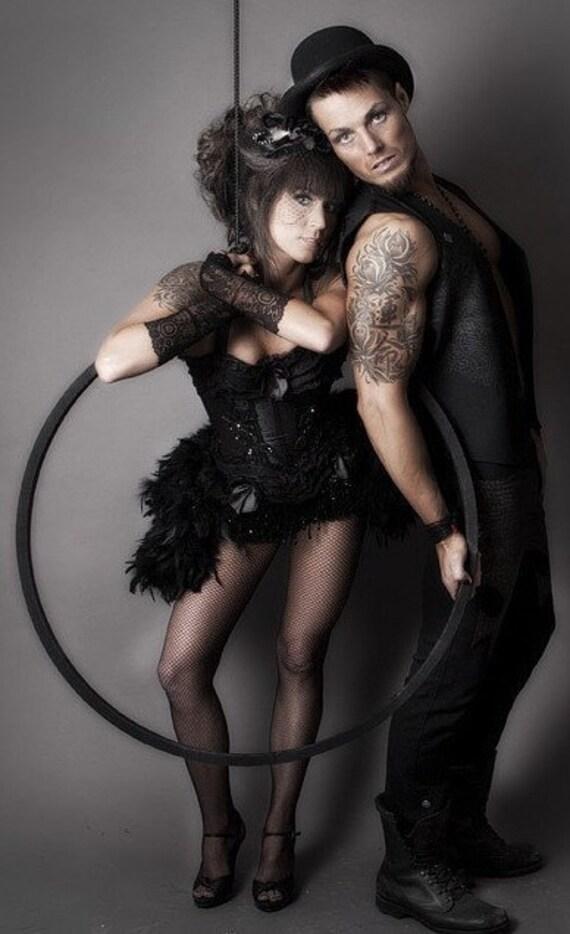 KALI Black Swan Burlesque Costume Corset Dress Steampunk gypsy feathers