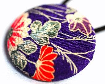 Royal Chrysanthemum Hair Tie - OOAK Recycled Kimono Fabric