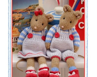 2 'CORNISH Mice' knitting pattern Pdf / Toy Knitting Pattern/ Mouse/ INSTANT Download