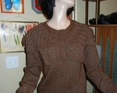 Vintage brown baggy sweater with oversized collar