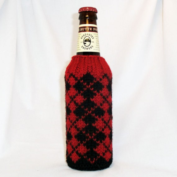 Argyle Hand Knit Beer Koozie - Coal Black and Cranberry Red