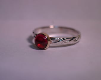 Custom 14K Gold & Silver Ring with 6mm Cabochon - 26 Gemstone Choices - Made to Order