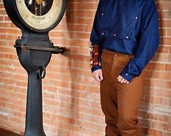 Navy Bib Front Shirt, Engineer, Conductor, Mechanic, Steampunk, Victorian, Western, Wild West, West World, Renaissance, Ren Fair, Festival