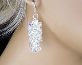Crystal Bridal Earrings, Swarovski Crystal AB Waterfall Dangle Earrings, Bridesmaids Wedding Jewelry - Matilda (WE0090)