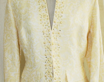 Yellow Damask Beaded Jacket - Wedding - Party - Contrast it with jeans - by ECI - Mother of Bride - Formal Jacket - Summer Spring - 38 Bust