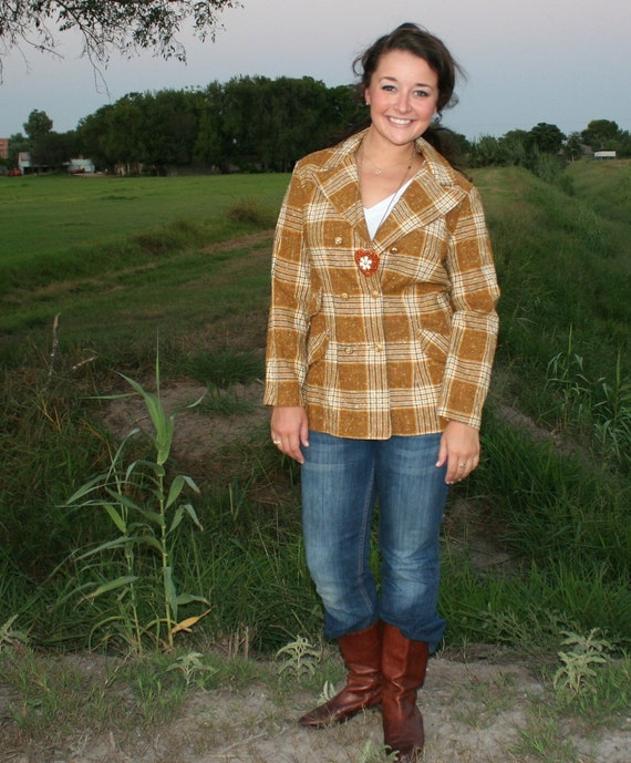 Hipster  Plaid- 1970s Retro Hipster - Kitchy Fall Blazer - Brown Plaid