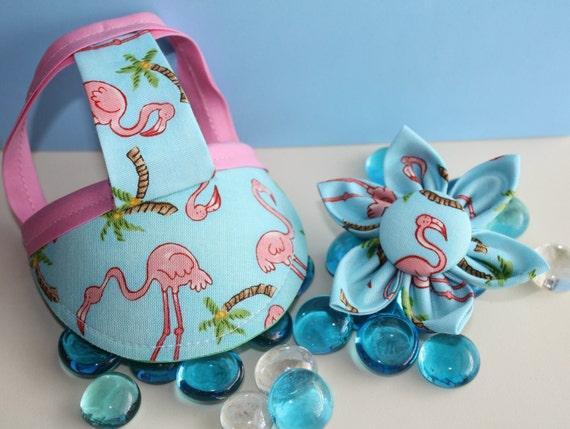 Fabulous Flamingo Visor and Collar Flower Set Sz XS, S, or M