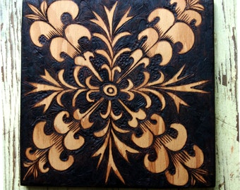 wood burned ooak artist decorated up cycled tile