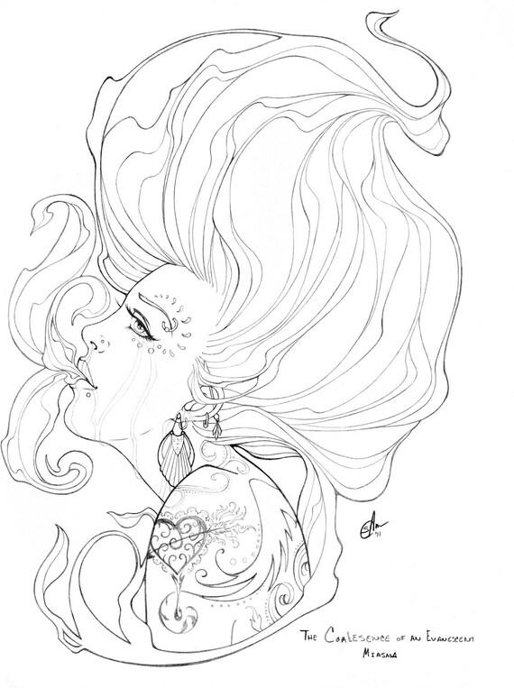 The Coalescence of an Evanescent Miasma - Original Pencil Drawing, Line Art, 11x14