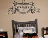 Anchor vinyl wall decal, custom banner, tattoo art, anchor sticker art, nautical wall cling, FREE SHIPPING
