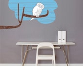 owl wall decal on tree branch, mid century modern owl sticker art