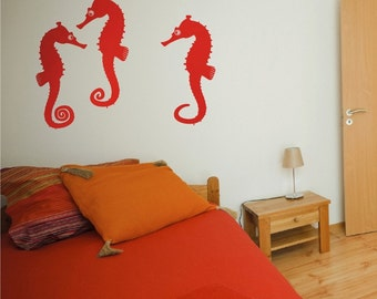 vinyl wall decal- seahorse vinyl art, nautical wall decal, sea horse family, FREE SHIPPING