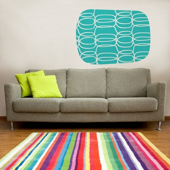 mid century geometric vinyl wall decal, sticker graphics, abstract art, FREE SHIPPING