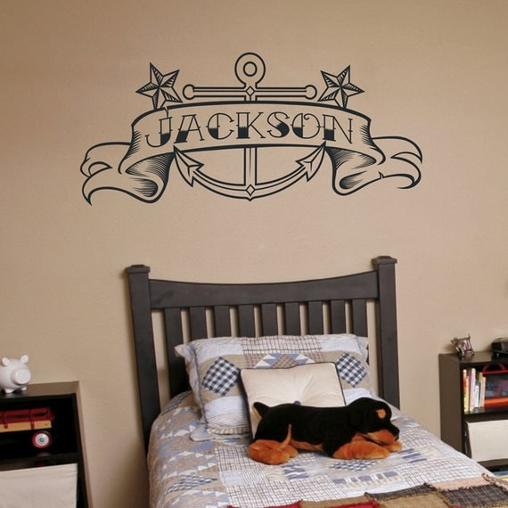 Anchor vinyl wall decal, custom banner, tattoo art, anchor sticker art, nautical wall cling, FREE SHIPPING