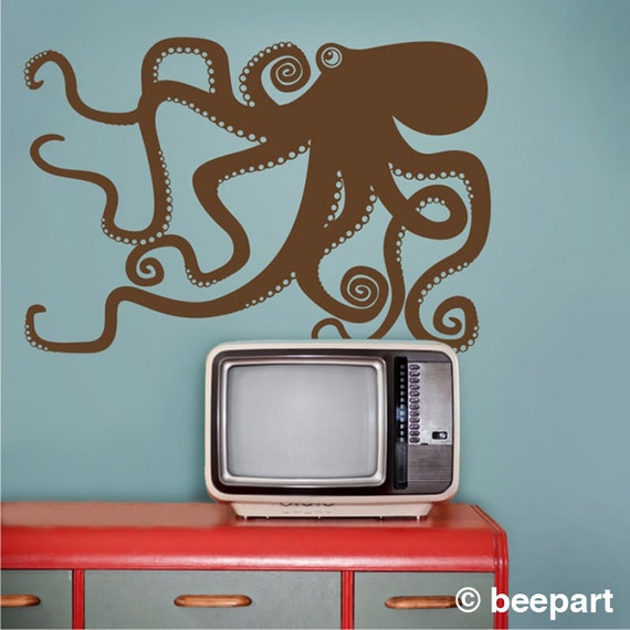 octopus wall decal, octopus vinyl sticker art, tentacles