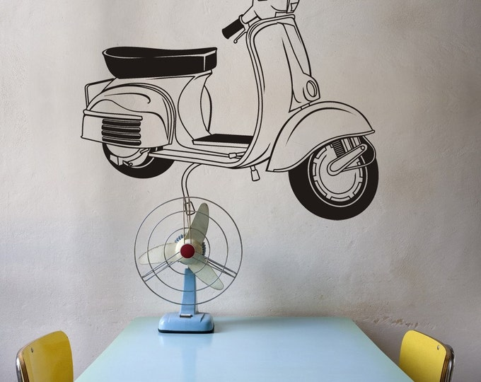 vespa vinyl wall decal, vintage scooter vinyl sticker art, retro art, mid century modern, FREE SHIPPING