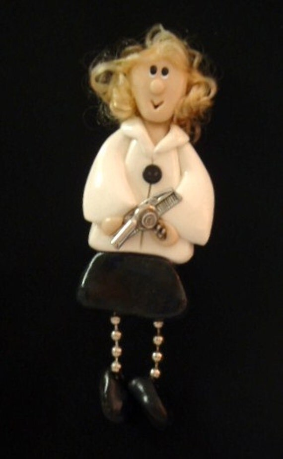 Ms. Trims-a-Lot: polymer clay hairdresser pin with pewter charms