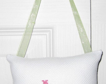 Aww Counted Cross Stitch Hanging Pillow
