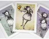 3 Fairy Cards - Fairy Tale - Fantasy Note Cards - Steampunk Art - Art Cards - blank cards - Fairy Tale Art by the Filigree