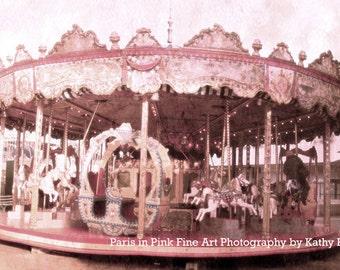 Paris Carousel Print, Paris Photography, Paris Pink Carousel Merry Go Round Horses, Paris Baby Girl Nursery Decor, Paris Pink Carousel Horse