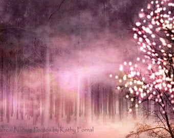Nature Photography, Fairytale Fantasy Nature, Pink Sparkle Fairy Lights Woodlands, Pink Nature Landscape, Twinkling Fairy Lights Pink Nature