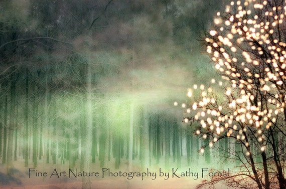 Nature Photography, Sparkling Trees Woodlands, Fantasy Fairy Lights Nature, Ethereal Green Nature, Fairytale Nature Tree Woodlands Wall Art