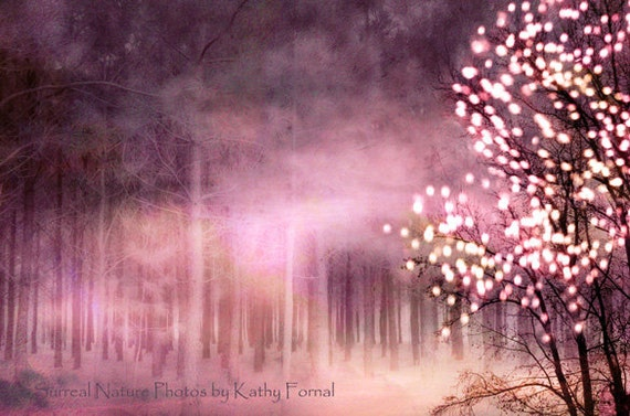 Nature Photography, Fairytale Fantasy Nature, Sparkling Fairy Lights Trees, Dark Pink Nature Landscape, Twinkling Lights Pink Nature Print