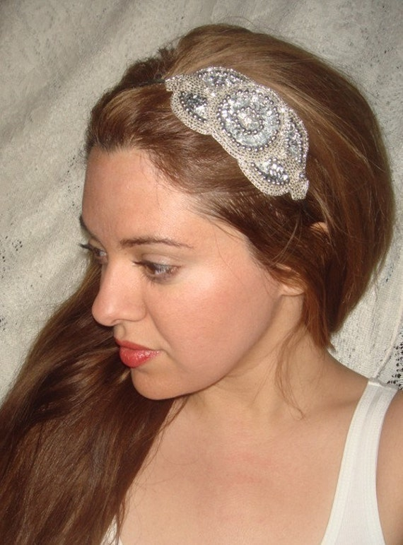 Headband- ROYALE SILVER, Rhinestone Headband,  Headband, Bridal Headpiece, Wedding, Bridal Headband,  Accessories, Sequin Headband