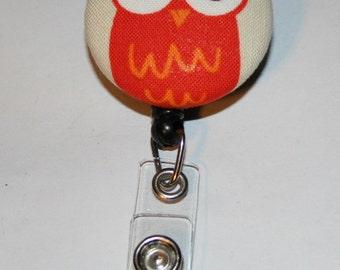 Retractable ID Badge Holder - Fabric Button - Urban Zoologie Orange Owl