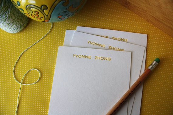 Personalized Letterpress Notecards - Personalized Stationery - Set of 50