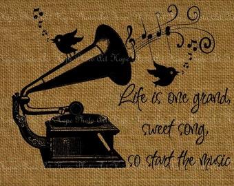 Life Is One Grand Sweet Song Image Transfer Digital Collage Sheet Burlap Feed Sacks Pillows Tea Towels greeting cards - U Print JPG 300dpi
