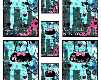 I Love Shopping NeW YoRk 3x5 Digital Collage Sheet hearts purse shoes sunglasses Atc Aceo tags greeting cards tags UPrint 300jpg