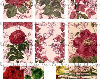 Shabby Vintage Cottage Roses Tags 2x3 Digital Collage Sheet ATC ACEO paper supplies postcard greeting cards backgrounds - U print 300jpg