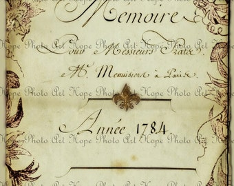 Vintage French Memoire 1784 Journal Digital Collage Sheet Image Transfer greeting cards digital paper french Uprint 300jpg