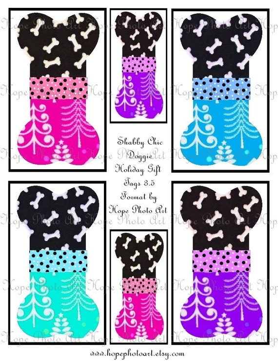Sweet Shabby Doggie Bone Christmas Tags 3x5 Digital Collage Sheet backgrounds, ATC, ACEO, geeting cards- U Print