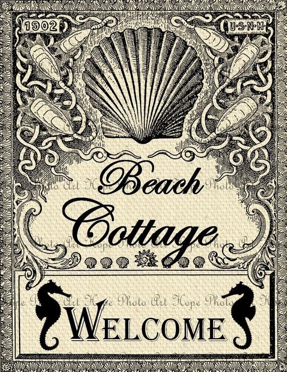 Vintage Beach Cottage Welcome Digital Collage Sheet Image Transfer Burlap Feed Sacks Canvas Pillows Tea Towels - U Print JPG 300dpi sh30