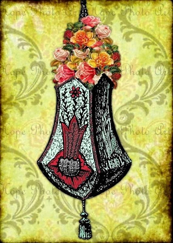 Victorian Hanging Flower Baskets : Victorian flower hanging basket damask digital collage sheet