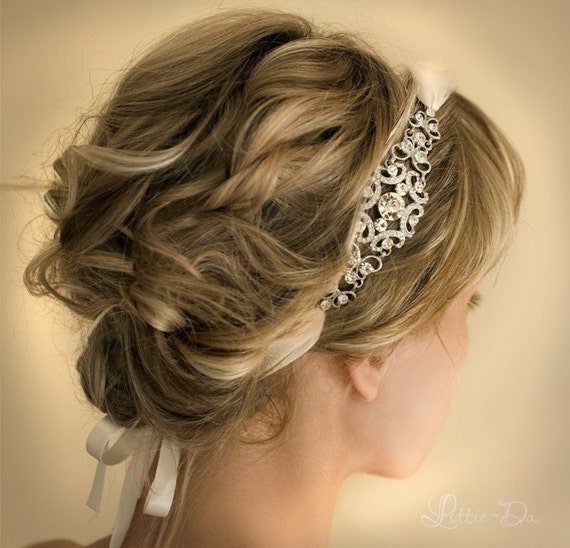 Bridal Ribbon Headband, Gatsby Headband, 1920s Vintage Headband, Bridal Hairband, Vintage hairband - GRACIE