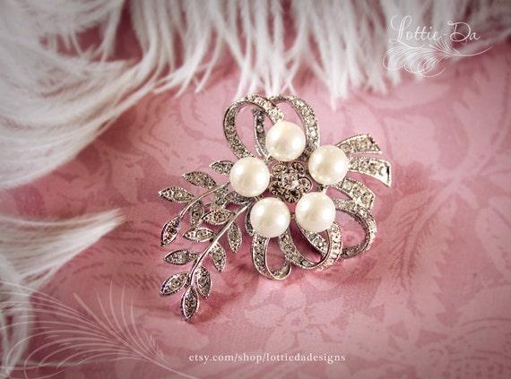 Vintage Style Bridal pearl hair comb, Deco Gatsby hair comb,  Pearl Wedding hair accessory, Downton Abbey Haircomb, 1920s - 'JANE'