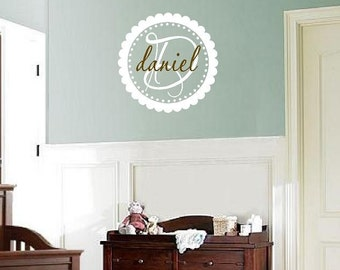 Circle Name Wall Decal with Initial and Scallop Polka Dot Frame Border - Boy or Girl Name Wall Decal FN0017