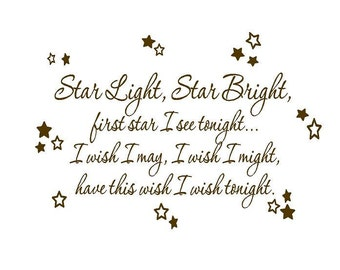 "Star Light Star Bright Wall Decal - Baby Nursery Rhyme Wall Decal Poem Saying Quote Lettering Tranfer with Stars 22""H X 36""W Ba0163"